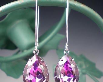 SUMMER SALE Rhinestone Earrings Lt Rose Vitrail Light Swarovski Drop Earrings Lavender Pink Wedding Jewelry Bridesmaid Earrings