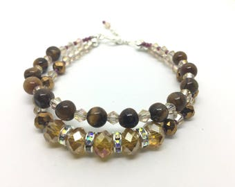 Double Stranded Beaded Tiger's Eye, Faceted Glass & Garnet Bracelet