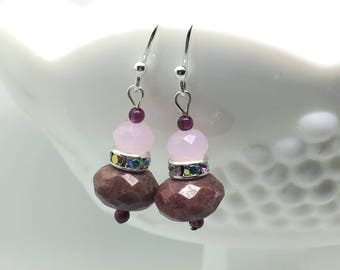 Rhodonite, Rhinestone, and Glass Beaded Dangle Earrings