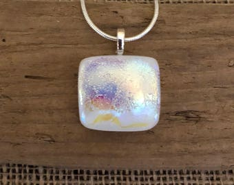 White Dichroic Fused Glass, Pendant, Square, Square Dichroic Pendant, Necklace, Silver Plated, Chain Included, Free Shipping