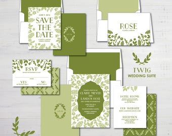 Twig Wedding Invitations Suite Package