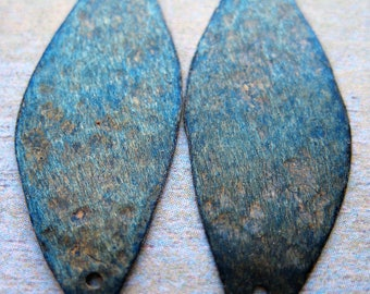 """Brushed Indigo Brass Leaf Double Hole Charms - 1.5"""" in length, 1 Pair"""