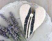 Vintage Grain Sack Lavender Sachet Heart, French Country Farmhouse Decor, Black & White Decor