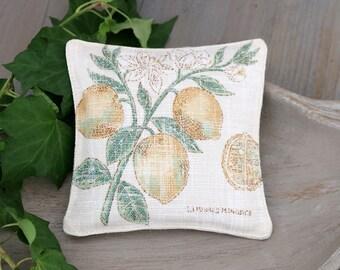 Botanical Lavender Sachet, Vintage Lemon Illustration, Drawer Freshener