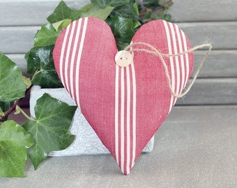 Lavender Sachet Heart, Vintage Red Ticking, French Country Decor