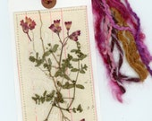 pressed flowers, nature collage, bookmark, dried flower art, tag art, beautiful fibers, nature bookmark