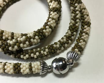 """Olive and Cream Plaid . Bead Crochet Necklace 37"""" Long Office Jewelry Gift for Mother Muted Colors Picasso Beads Seed Beads Handmade Jewelry"""