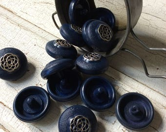 geometric blue and silver button,spirograph buttons, new old stock, vintage seventies, funky button, coat or jacket buttons, silver and blue