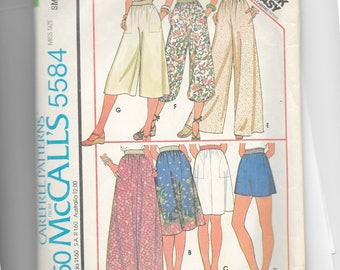 McCall's Set of Skirts and Pants or Shorts Pattern 5584