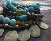 40% OFF- Bead Stack Bracelets-Fruits of the Spirit-Glass and Wood-Cuff Accessories-Boho Style-