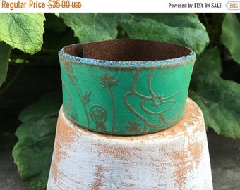 CRAZY SALE- Embossed Leather Cuff-Create Your Own-Floral Leather-Word Cuff-Poppies