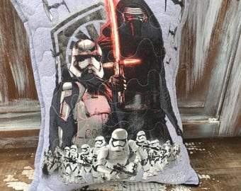 40% OFF- Star Wars Pillow-Throw Pillow--Upcycled Eco Friendly-Quilted-Kylo Ren