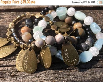 50% OFF- Bead Stack Bracelets-Fruits of the Spirit-Glass and Wood-Cuff Accessories-Boho Style-
