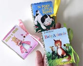 Little Golden Books Mini Book Party Favors   Miniature Birthday Boy Girl Baby Shower   Poky Puppy Animals Wish Plane Fairy   Personalize 25