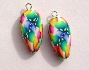 Bright Dagger Style Charm Handmade Artisan Polymer Clay Beads Pair
