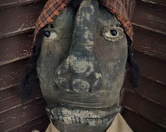 MUSTARD SEED ORIGINALS, Extremely Primitive, Black, Chicken, Rag, Old Cloth, Doll by Primitive Folk Artist Sharon Stevens