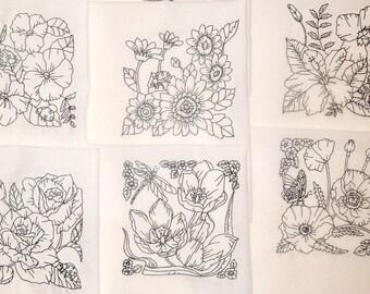 Set of 12 Machine Embroidered Quilt Blocks Florals Black Work 8 1/2 inches