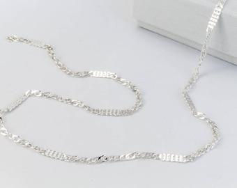 Bright Silver 2.3mm Squashed Curb Chain #CC113