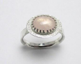 Rose Quartz cabochon halo Polished Sterling Silver gemstone ring Hammered Finish 2.33ct Sz 8