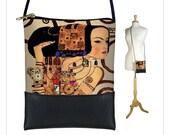 Small Cross Body Purse, Mini Crossbody Bag, Shoulder Bag w/ long cord strap, Boho Bag, Art Bag,  Expectations Klimt Vegan Leather purse  RTS