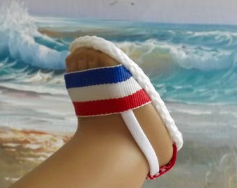 """Sandals for 18"""" dolls and 13-14"""" dolls and 14.5"""" dolls (You choose size) Red White and Blue Stripe"""