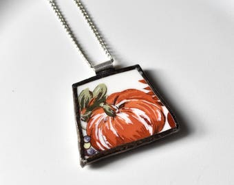 Broken China Jewelry Pendant - Orange Pumpkin