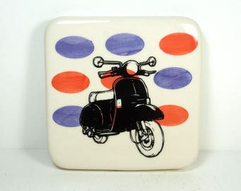 tile with purple and red-orange ovals and a Vespa scooter print, ready to ship