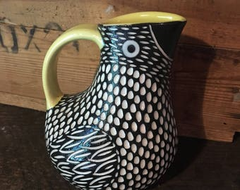 Carved Modern Porcelain Bird Pitcher Creamer