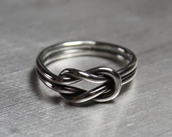 ON SALE TODAY Sterling Silver Double Knot Ring, Love Knot, Sailor Knot Ring