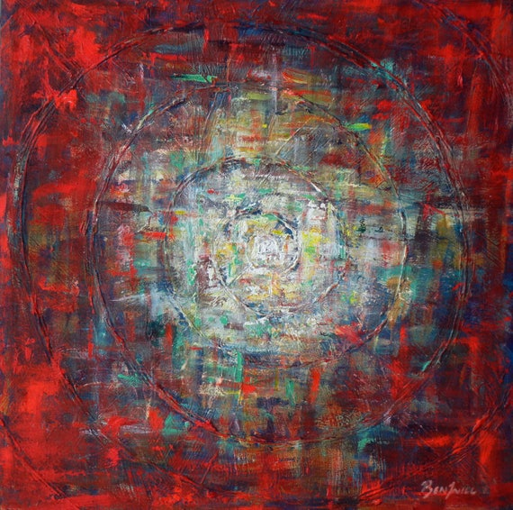 Dimensional Vortex Art Abstract Red Painting on Canvas - 24x24 - Modern Wall Art by BenWill