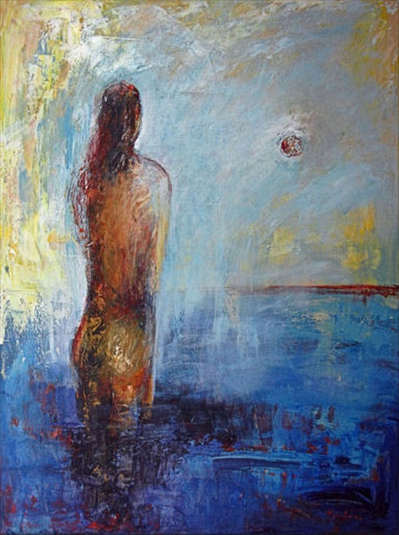 ORIGINAL Modern Art Painting Female Bather Modern Art  - 48x36 by BenWill