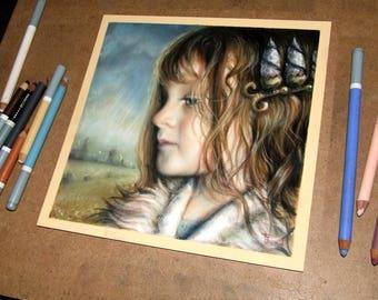 Reminiscent - original art by Tanya Bond - fantasy illustration pastels girl pop surrealism crown girl child portrait