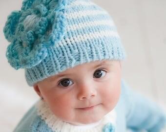 Knit Hat - Baby Girl Hat - Baby Hat - Flower Hat - Baby - Seafoam Blue Hat - Newborn Beanie - Newborn Photo Prop - Girls Hat