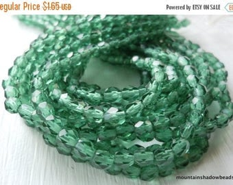 20% Summer SALE Czech Firepolished Faceted 4mm Prairie Green - 50 (G - 28)