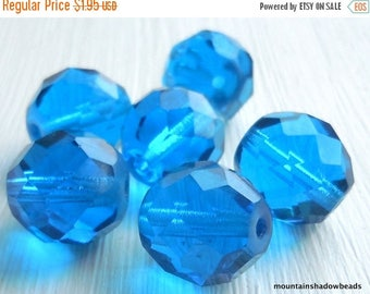 20% Summer SALE 6 - 12mm Firepolished Faceted Round Beads Capri Blue Czech Glass Beads (GG - 1)