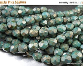 20% Summer SALE 6mm Czech Glass Beads - Faceted Round Matte Persian Turquoise Copper Picasso -  25 pcs (G - 479)