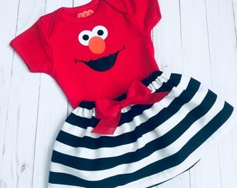 ELMO outfit... with red Elmo top and striped skirt... girls clothing.. birthday elmo