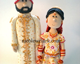 Personalized Indian Wedding Cake Topper - Sari Cake Top - Hindu Cake Top - Sikh Wedding - Pakistani Wedding - Muslim Wedding - Asian Wedding