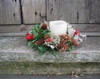 HOLIDAY CANDLE WREATH ring   dried flowers and artificial  greenery