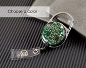 Recycled Circuit Board Retractable Badge Holder, Badge Reel, Geeky Office Gift, Engineer Gift, Wearable Technology, Science Gift, Geek Chic