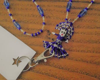 Blue & Silver Kachina Doll focal Beaded ID Badge Holder Lanyard Bead Necklace or for Glasses