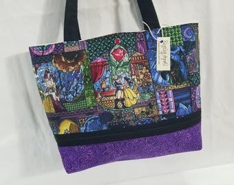 Beauty and the Beast Stained Glass Mosaic purse tote Bags by April
