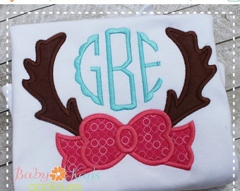 ON SALE Antlers with Bow Applique Design 4x4, 5x7, 6x10, 8x8