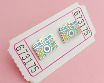 Pastel Rainbow Camera Enamel Stud Earrings - Pastel Camera Studs