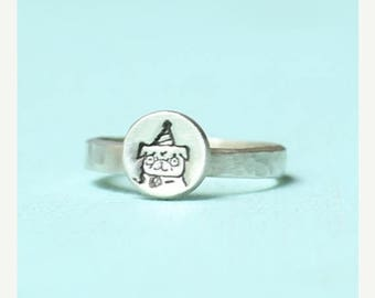 ON SALE PUG ring stacker, party hat pug illustration by Gemma Correll, sterling silver or 14kt gold vermeil.  Handcrafted by Chocolate and S