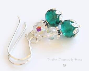 Emerald Green, Sterling Silver Earrings, Czech Glass Beads, Swarovski Crystals, St Patrick's Day Earrings, Victorian Green Earrings
