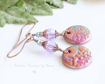 Copper Earrings, Polymer Clay Discs, Swarovski Crystals, Purple Earrings, Boho Earrings, Pink Earrings, Blue Green Flowers