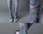 ON SALE/// Exotic Birds Closed Toe grey one size full length printed tights, pantyhose, nylons, tattoo socks, tattoo tights