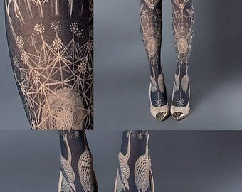 ON SALE/// Tattoo Tights, Marine Life Tights nude Closed Toe one size full length printed tights, pantyhose, nylons, tattoo socks