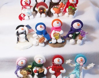 Snowman ornaments 12 months of the year set: Polymer clay snowmen table top decorations, FREE SHIPPING